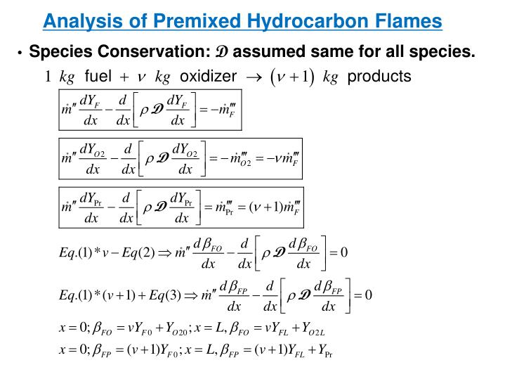 Analysis of Premixed Hydrocarbon Flames