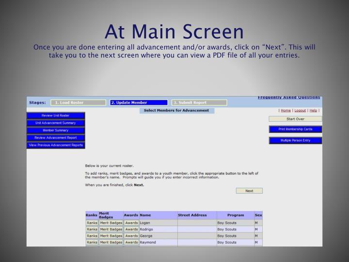 At Main Screen