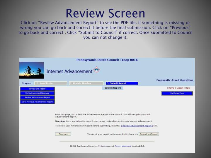 Review Screen