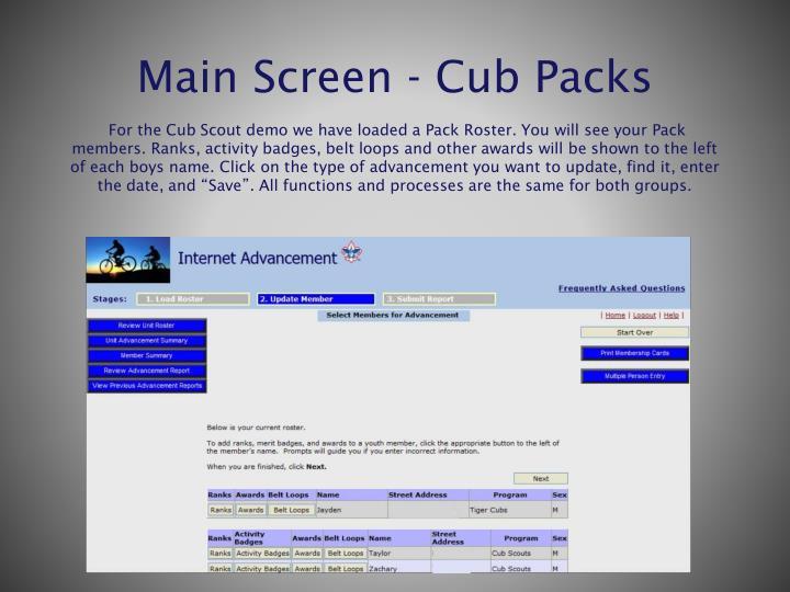 Main Screen - Cub Packs