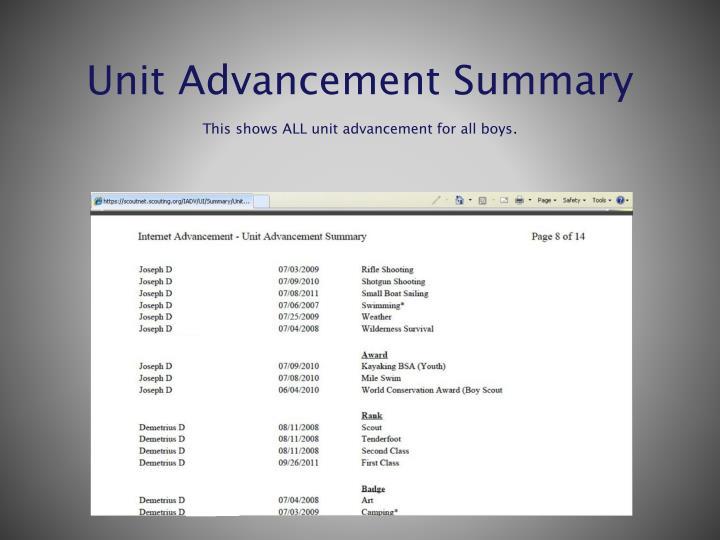 Unit Advancement Summary