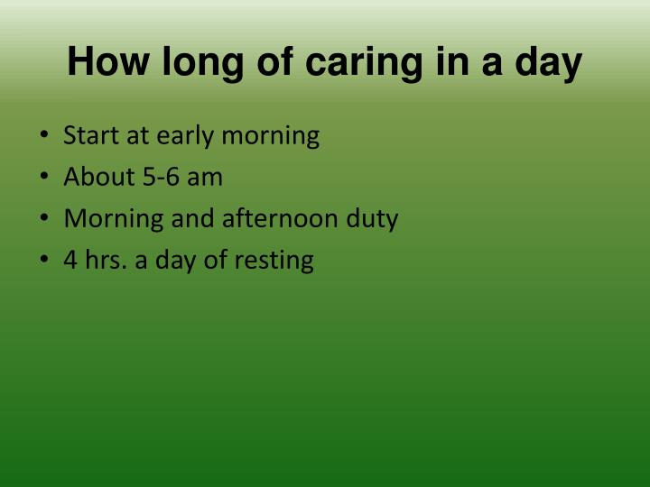 How long of caring in a day