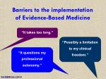 barriers to the implementation of evidence based medicine