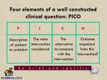 four elements of a well constructed clinical question pico