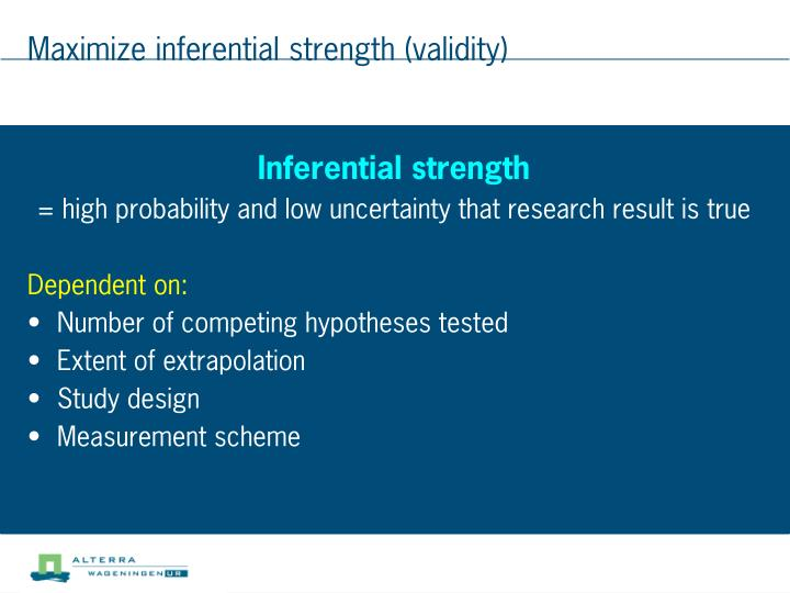 Maximize inferential strength (validity)