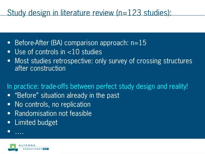 Study design in literature review (n=123 studies):