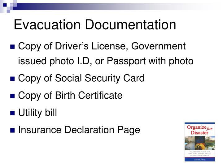 Evacuation Documentation