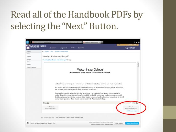 "Read all of the Handbook PDFs by selecting the ""Next"" Button."
