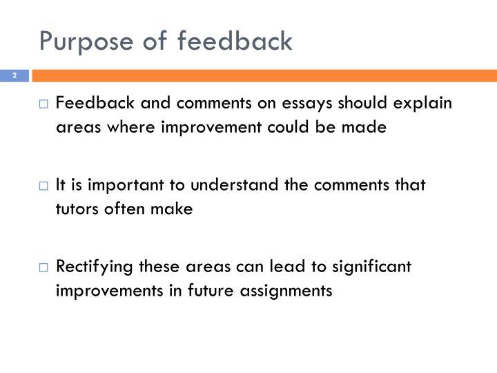 Purpose of feedback