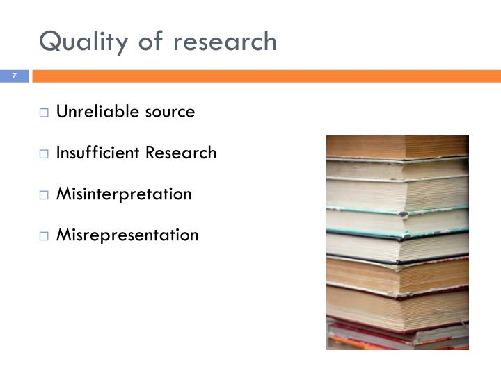 Quality of research