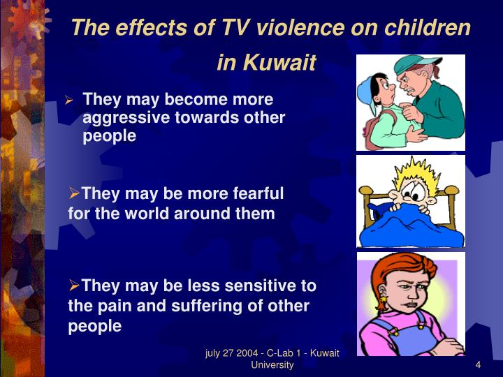 outline tv violence and children Effects of domestic violence on children, result from witnessing domestic violence in a home where one of their parents are abusing the other parent, plays a tremendous role on the well-being and developmental growth of children witnessing the violence.