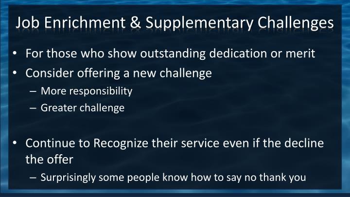 Job Enrichment & Supplementary