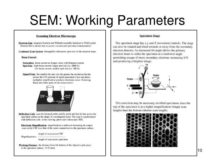 SEM: Working Parameters