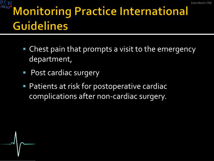Monitoring practice international guidelines