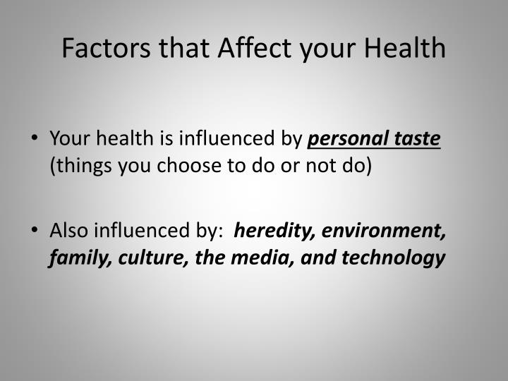 Factors that Affect your Health