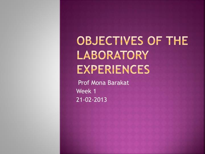 objectives of the laboratory experiences n.