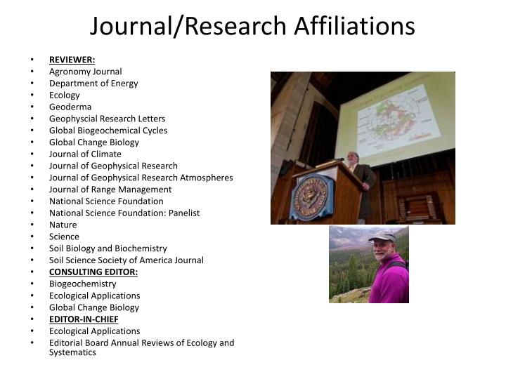 Journal/Research Affiliations