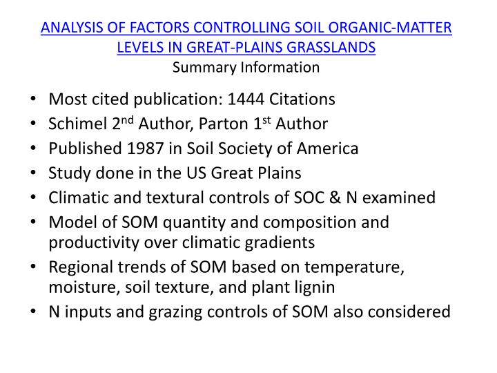 ANALYSIS OF FACTORS CONTROLLING SOIL ORGANIC-MATTER LEVELS IN GREAT-PLAINS GRASSLANDS