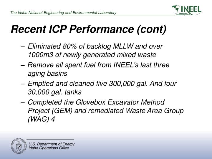 Recent ICP Performance (cont)