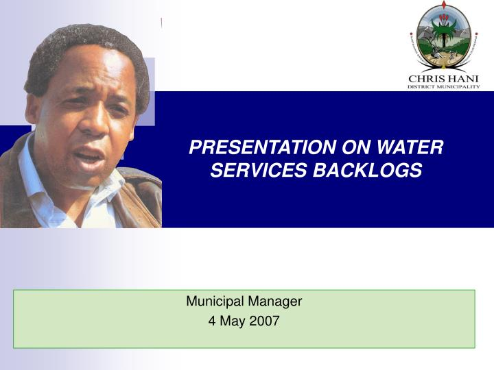 Presentation on water services backlogs
