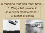 1 wings that provide lift 2 a power plant to propel it 3 means of control
