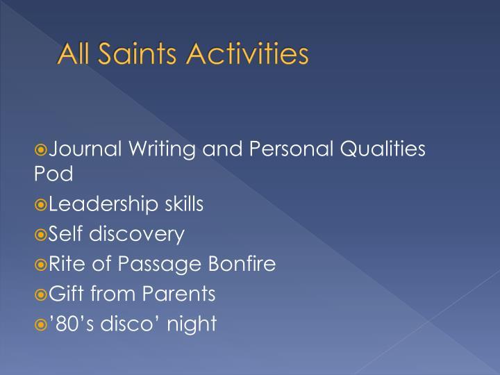 All Saints Activities