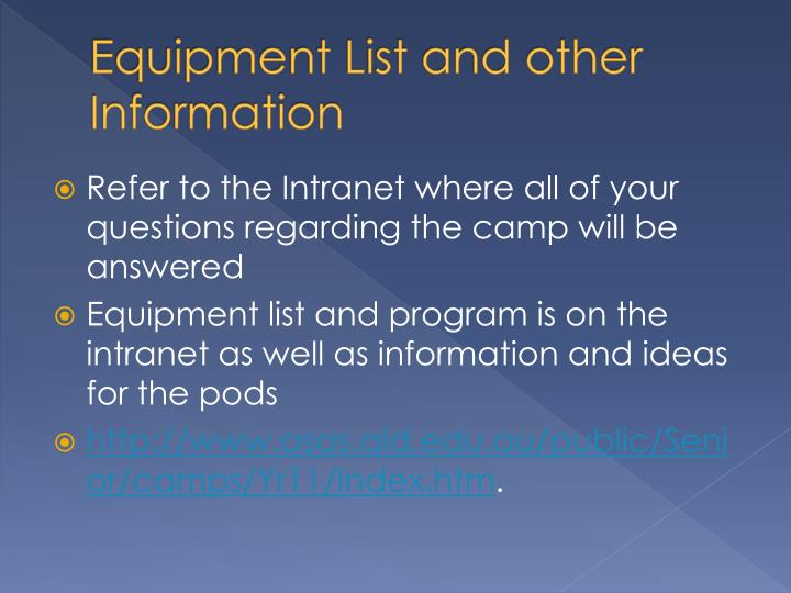 Equipment List and other Information