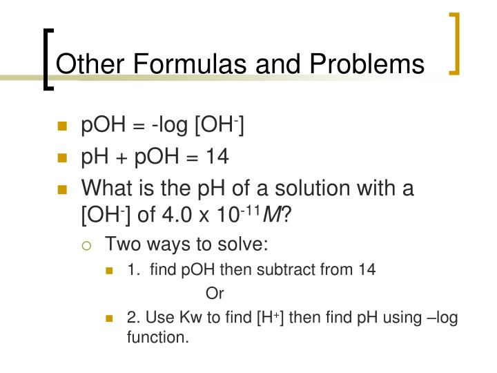 Other Formulas and Problems