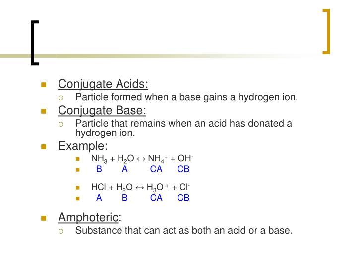 Conjugate Acids: