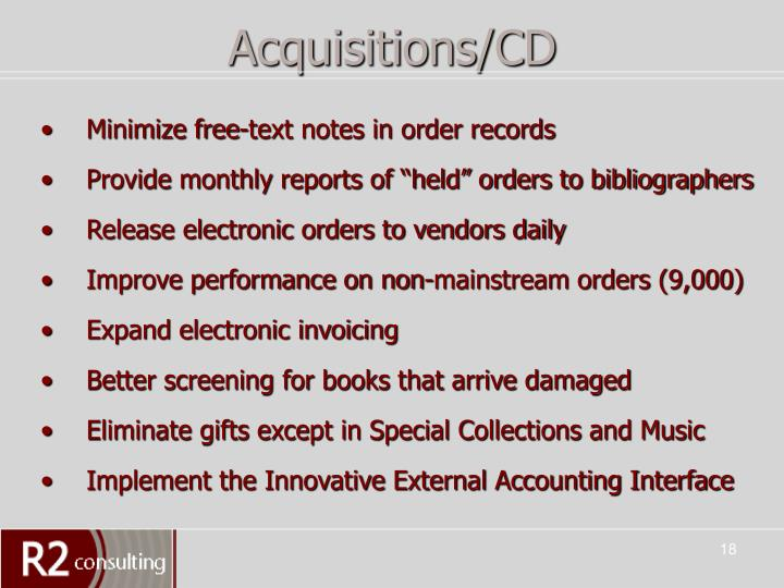 Acquisitions/CD