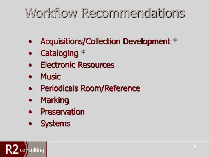 Workflow Recommendations