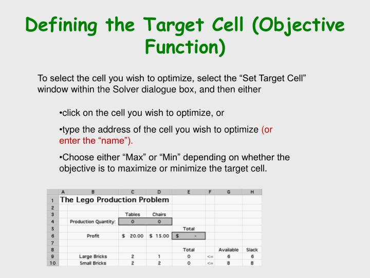 Defining the Target Cell (Objective Function)