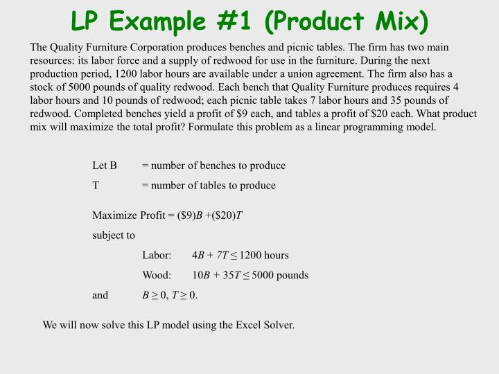 LP Example #1 (Product Mix)