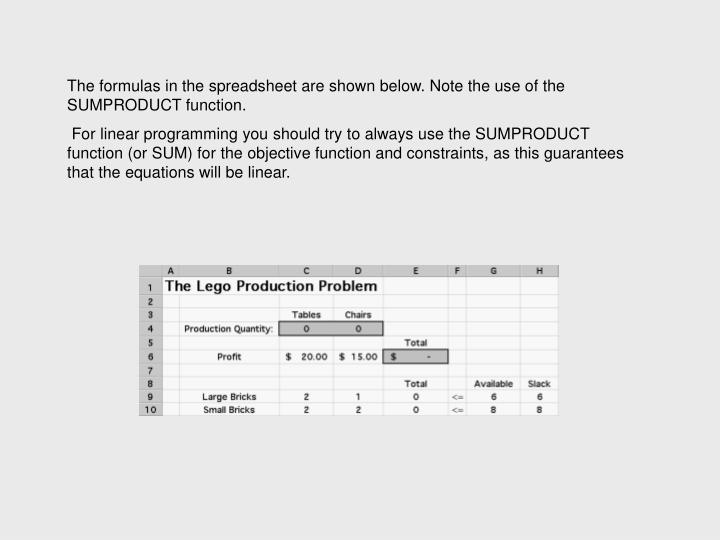 The formulas in the spreadsheet are shown below. Note the use of the SUMPRODUCT function.
