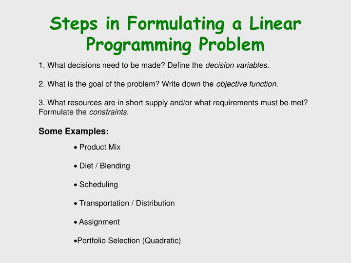 Steps in Formulating a Linear Programming Problem