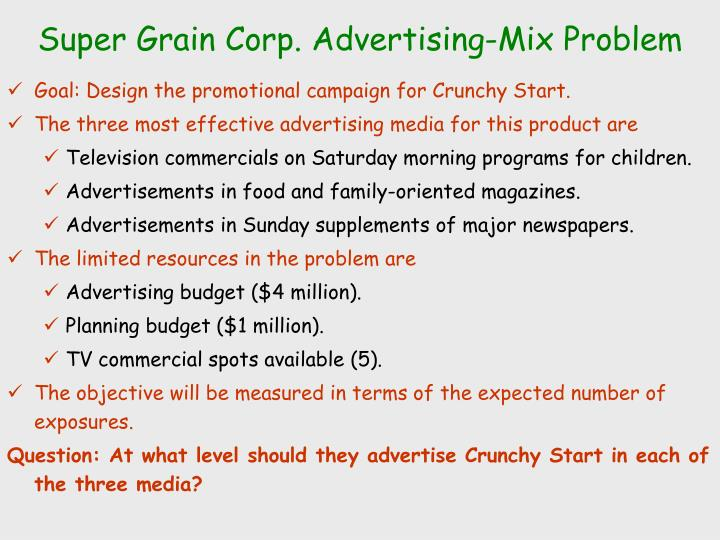 Super Grain Corp. Advertising-Mix Problem