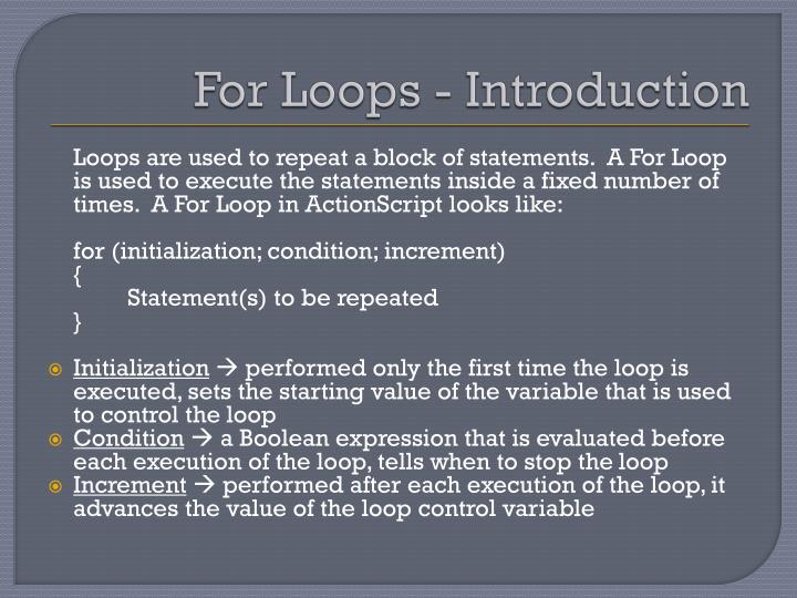 For loops introduction