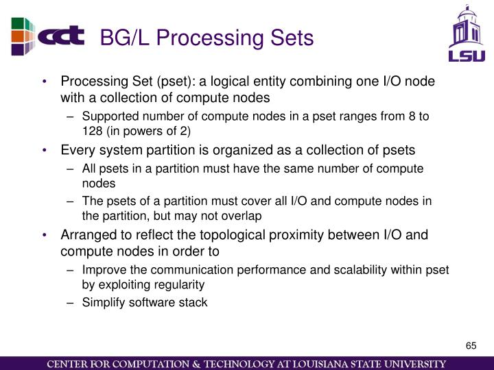 BG/L Processing Sets