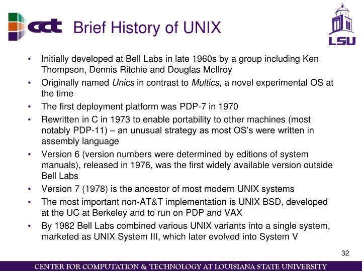 Brief History of UNIX