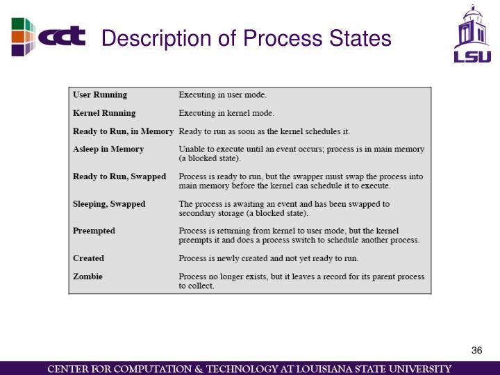 Description of Process States