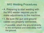 mig welding procedures