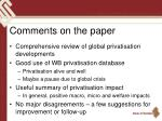 comments on the paper