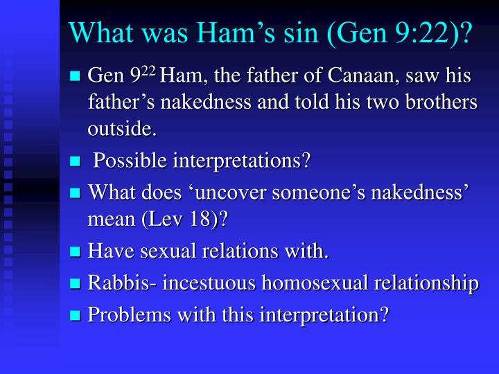 What was ham s sin gen 9 22