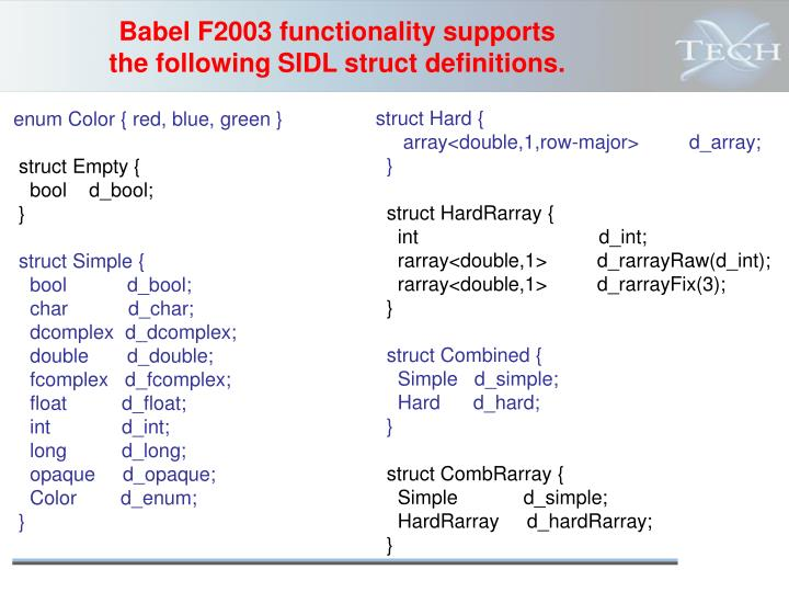 Babel F2003 functionality supports