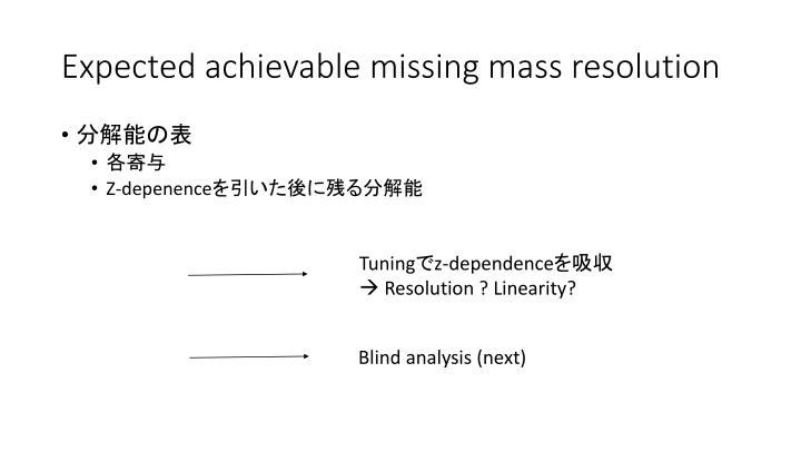 Expected achievable missing mass resolution