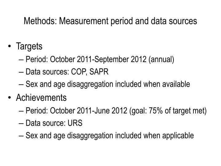 Methods measurement period and data sources