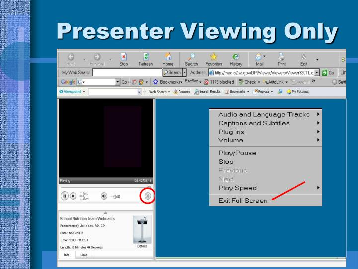Presenter Viewing Only