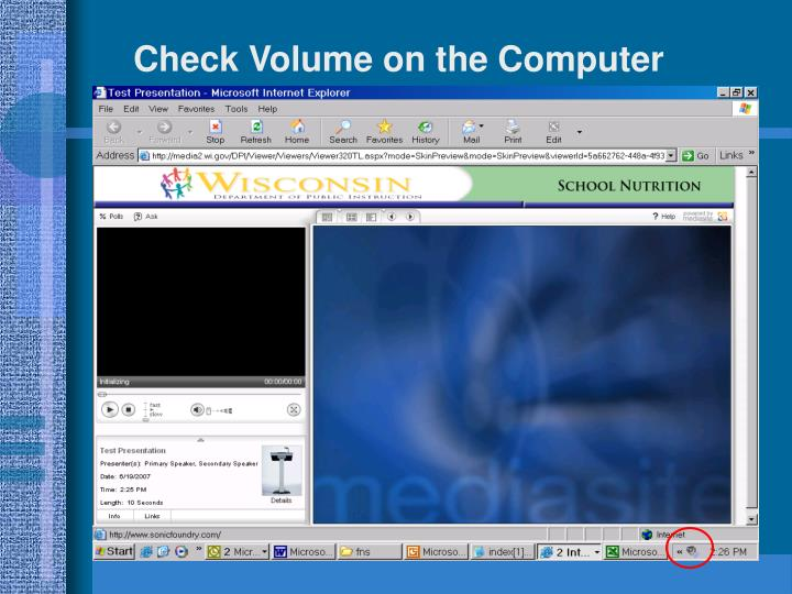 Check Volume on the Computer