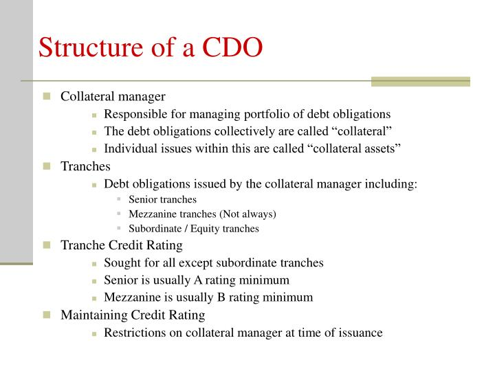 Structure of a cdo