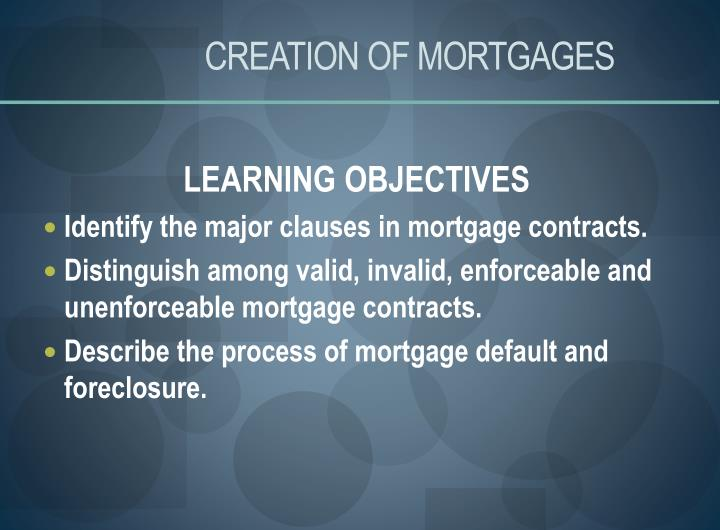 Creation of mortgages1